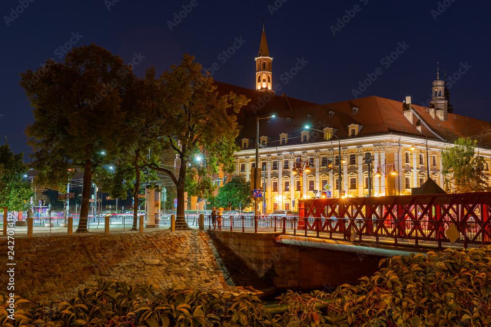 Fototapety, obrazy: Wrocławskie miasto nocą, Polska, Europa