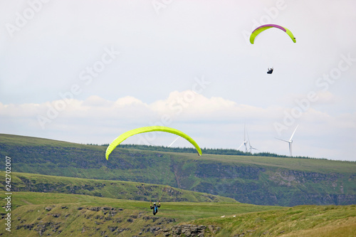 Paragliders in the Welsh Valleys