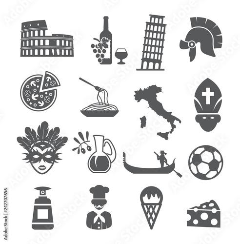 Valokuva Italy icons set