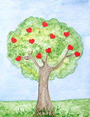 Painted love tree with hearts