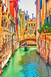 canvas print picture - Venetian canal on summer sunny day