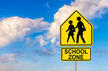 SCHOOL ZONE Street Sign With S...