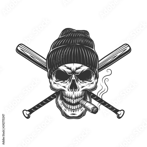 ab27c9aa65a40 Vintage gangster skull in beanie hat - Buy this stock vector and ...