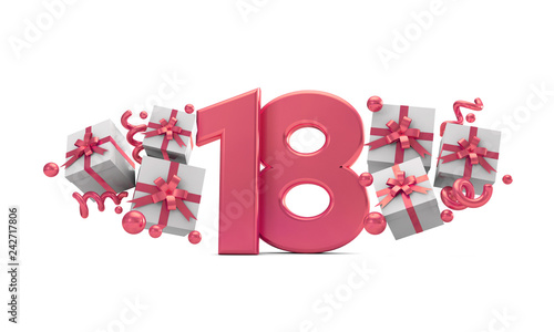 Photo Number 18 pink birthday celebration number with gift boxes