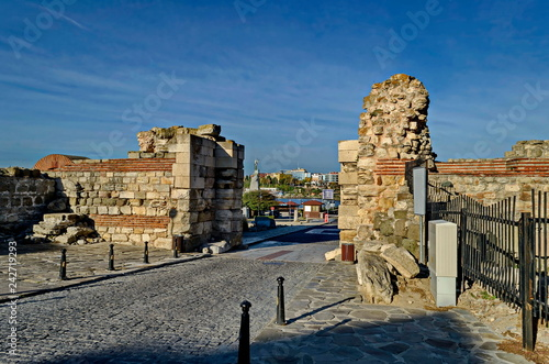 Fotografie, Obraz  Ruin of Western fortification wall and entrance  in ancient city Nessebar or Mes