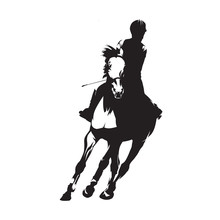 Horse Riding, Dressage Isolated Vector Silhouette. Show Jumping, Equesterian Sports