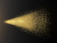 Gold Glitter Spray On Transparent Background. Glowing Drops In Motion. Golden Magic Star Dust. Light Particles. Bright Glitter Explosion. Sparkling Firework. Vector Illustration