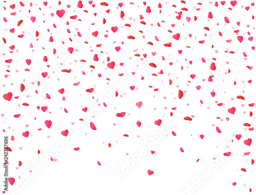 Heart Confetti Falling On White Background Flower Petal In Shape Of Valentines Day