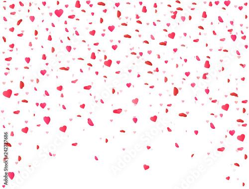 Heart Confetti Falling On White Background Flower Petal In Shape Of