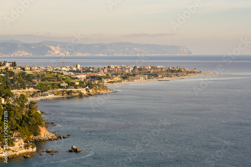 Panoramic view from above of a coastal city on the Ligurian Sea with cliffs and Wallpaper Mural