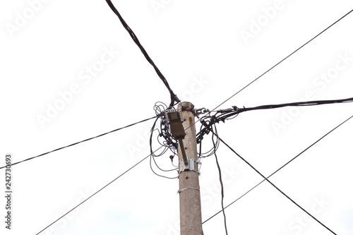 Fotografie, Obraz  Overhead assorted cable pole.