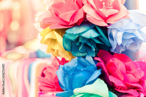 Closeup Of Colorful Handmade Paperfabric Flowers Used For Dia De