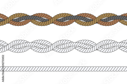 Fotografiet  Set of different ropes on white background