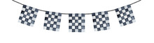 Decorative Festoon Garland With Black And White Checkered Pattern, Square Shaped Flags. Hand Painted Watercolour Drawing, Cutout Clipart Element For Cards, Posters, Headers, Signs, Design Decoration.
