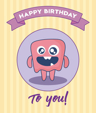 Birthday Card With Cute Monster And Ribbon