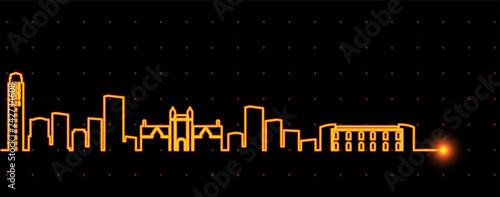 Ann Arbor Light Streak Skyline Wallpaper Mural