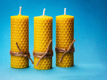 Three Candles Of Yellow Beeswax