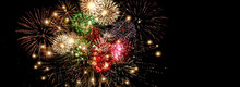 Beautiful Colorful Fireworks  For Celebration On Dark Background , New Year Holiday Concept