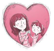 Madre Y Hija Con Corazon El Di...