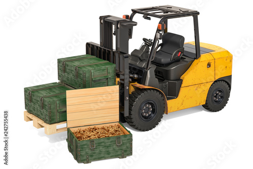 Forklift truck with military wooden ammunition boxes full of rifle bullets, 3D r Canvas Print