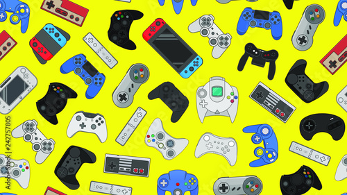 Fotomural Video game controller background Gadgets seamless pattern