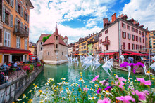 Medieval City Of Annecy In The Valley Of The French Alps France.