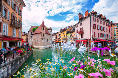 Medieval city of Annecy in the valley of the French Alps France. Canvas Print