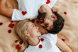 Couple. Love. Valentine's day. Emotions. Man and woman are looking at each other and smiling; top view