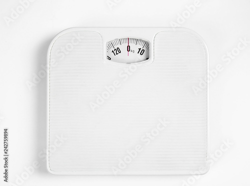 Fototapeta Modern scales isolated on white, top view