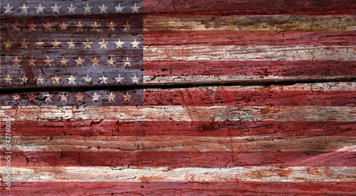 Obraz weathered grunge USA flag on an old wooden wall background - fototapety do salonu