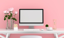 Computer Display For Mockup On Table, Valentine Concept, 3D Rendering