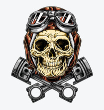 Motorcycle Skull With Helmet A...