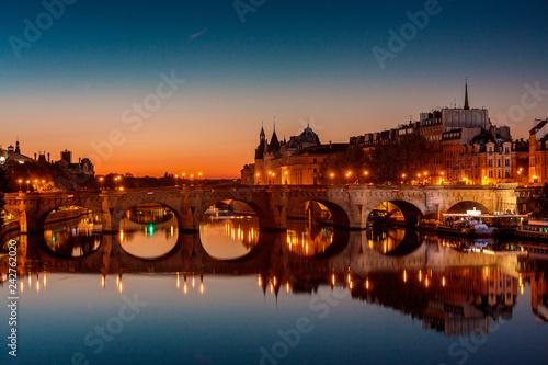 Photo  Sunset over Paris bridge Pont Neuf, Paris France