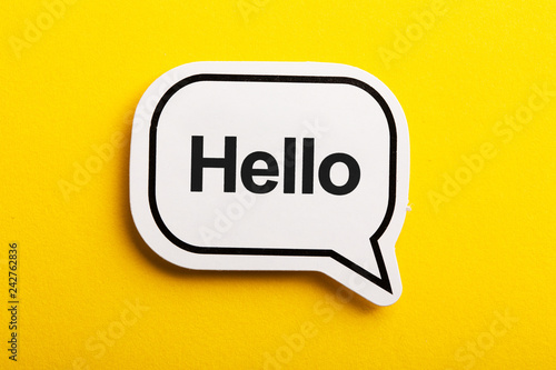 Fotografia, Obraz Hello Speech Bubble Isolated On Yellow Background