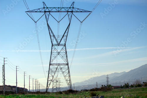 Fotografie, Obraz  A California background and Power lines.