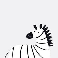 Cute Zebra In A Cartoon Style Vector