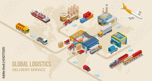 Foto  Graphic scheme of modern land delivery service depicted on world map as part of