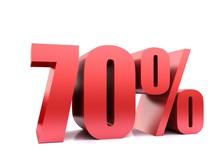 Seventy  Percent 70% Symbol .3d Rendering