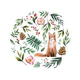 Fototapeta Fototapety na ścianę do pokoju dziecięcego - Fox in nature painted by watercolor