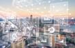 canvas print picture - Analytics data big business intelligence background bi
