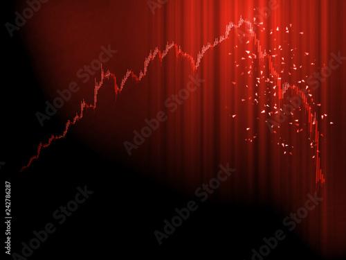 Valokuvatapetti Stock market chart panic sell concept