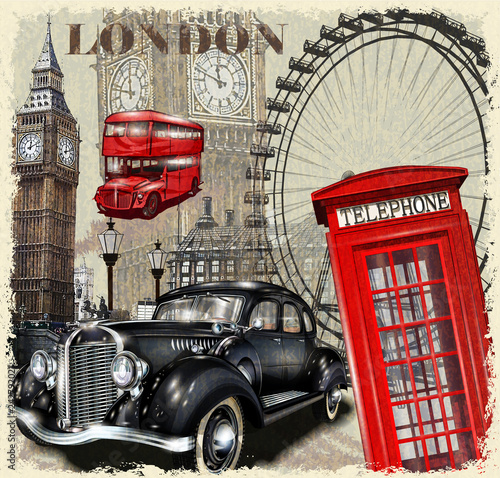 Obrazy Londyn   vintage-plakat-londyn