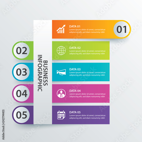5 Data Infographics Tab In Horizontal Paper Index Template Vector