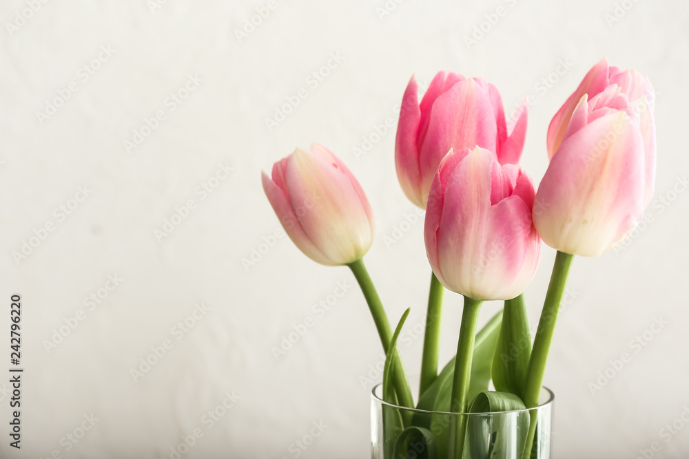 Fototapety, obrazy: Bouquet of beautiful tulips on light background