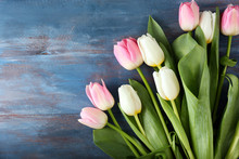 Bouquet Of Beautiful Tulips On Wooden Background