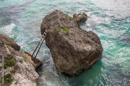 Tela Beautiful beach of stones with stairs at fisherman town, Dalmatia, Croatia
