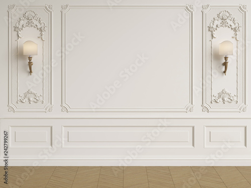 Papel de parede Classic interior wall with mouldings