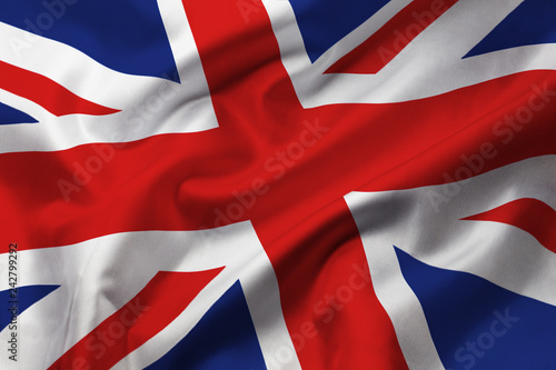 Fototapeta Satin texture of curved flag of Great Britain