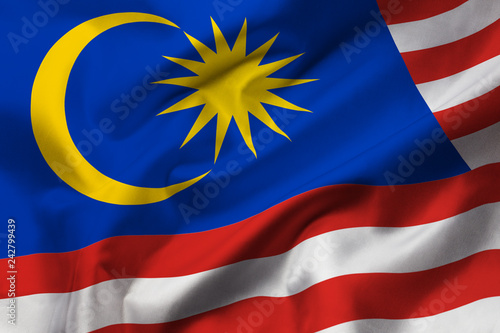 Fotografía Satin texture of curved flag of Malaysia