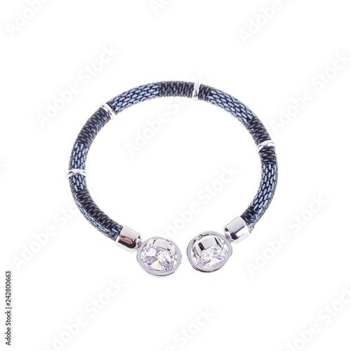 Fotografía  Modern blue cord bracelet with silver clasp on white